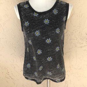 LOL daisy print sleeveless tee medium burnout